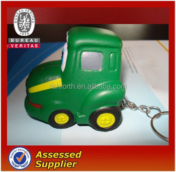 Tractor shaped stress toy with keychain
