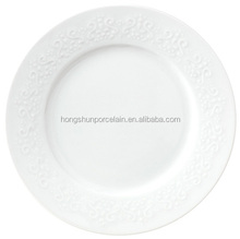 Market Oriented Factory SGS Standard Hotel Embossed White Porcelain Plates