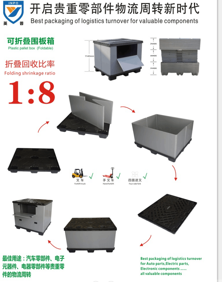 4-Way Entry Type heavy duty industry collapsible plastic pallet box