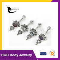 Fashion Stainless Steel Opal Banana Navel Belly Button Rings Body Piercing jewelry