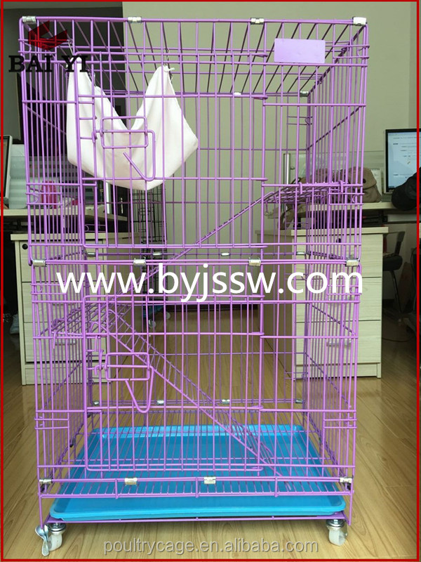 Best Selling PVC Coated 3 Layer Cat Cage And Pink Cat House