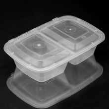 Disposable plastic microwave safe food container 2 compartments