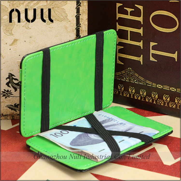 Factory price wholesale strong elastic strap leather magic <strong>wallet</strong>