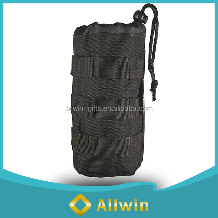 Custom durable drawstring polyester water bottle pouch for travel