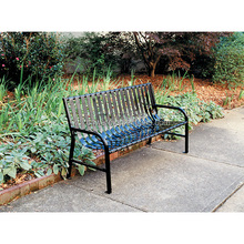 Decorative Outdoor Metal Slatted Garden Benches Black For Sale