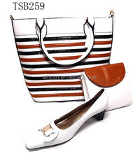 2015 new brand beautiful shoes and bags wholesale TSB259 white