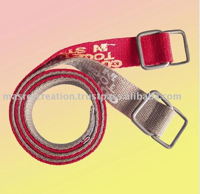 Steel Buckle Red Cotton Fabric Belts