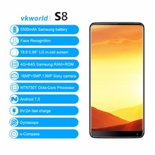 Oem Smartphone VKWORLD S8 Face Recognition 5.99'' FHD Bezel Less 4G+654G/13+16MP Cheap 4G China Mobile Phone Smartphone