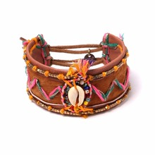 2016 Fashion Rubber Band Wrap Bracelet bead loom With Leather