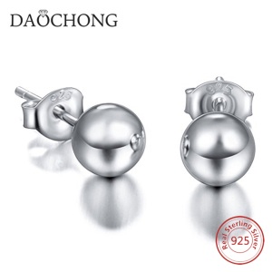 Fashionable fancy sterling silver stud earrings 6mm round ball 925 silver earring