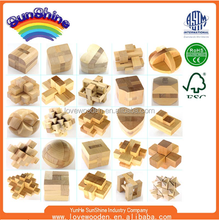 Cheapest Wholesale or Custom design best gift for kids beech wooden toys 3D magic IQ development wooden teaser game Brain puzzle