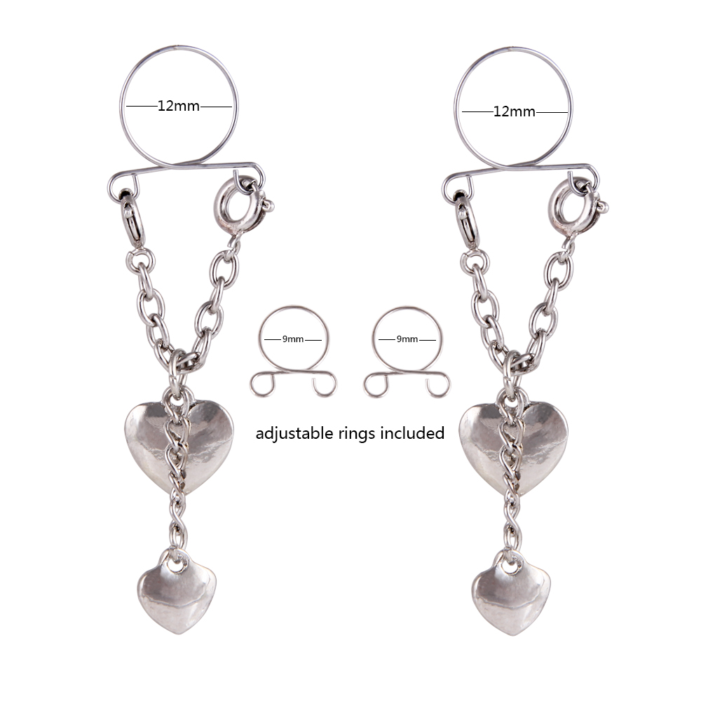 Fashion Pierced Nipples Heart Shaped Cool Vibrating Nipple Rings Body Piercing Jewelry
