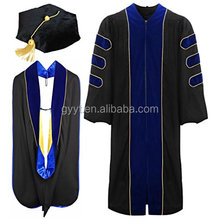 High quality and best workmanship academic regalia doctorate PHD graduation gown With Gold Piping