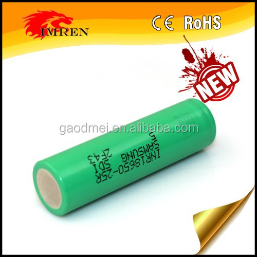 Authentic 25r 3.7v green samsung inr18650-25r battery 18650 35 amp battery samsung 25r 18650 akku imr 18650 2500mah battery Qu