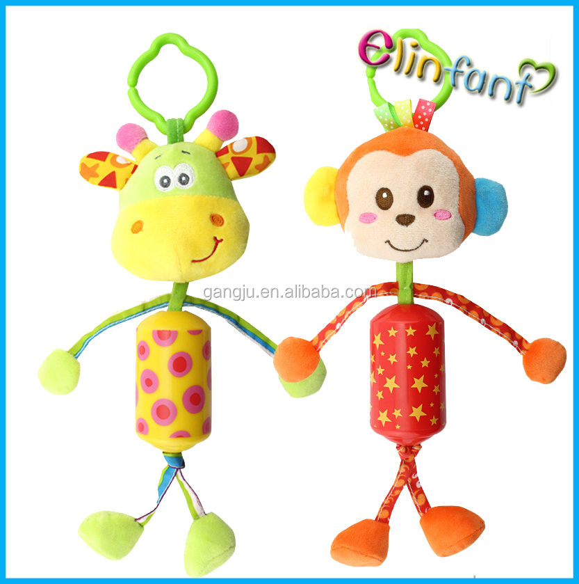 Cartoon Stuffed Animal Baby Soft Plush Hand Rattle Toys