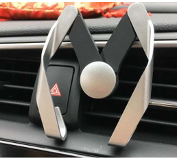 M shape Rock Car Mount Adjustable GPS Bracket Air Vent Phone Holder for Smartphones - Silver