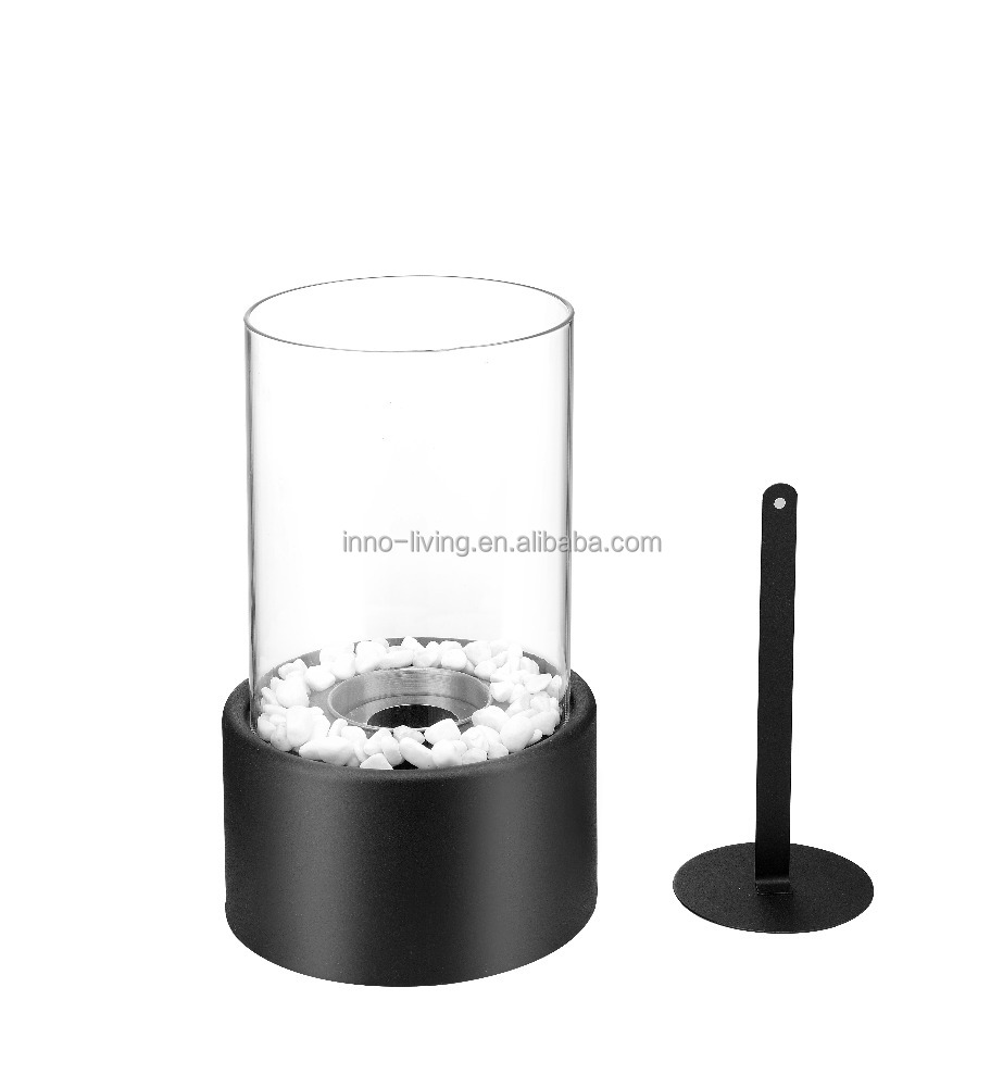 Round table top ethanol fireplace portable black color