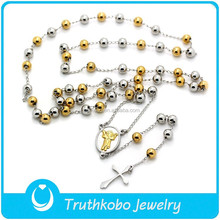High Quality Religious Jewelry Gold and Silver Rosary Necklace with Cross Catholic Rosaries Stainless Steel Angel Baby Necklace