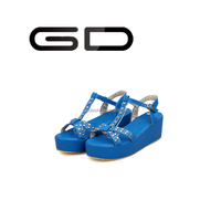 GD 2015 fashion Peep Toe Wedges Hemp Rope platform Sandals