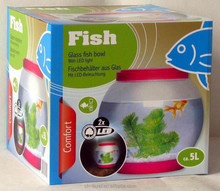 RoHS approval glass gold fish bowl in home temperature