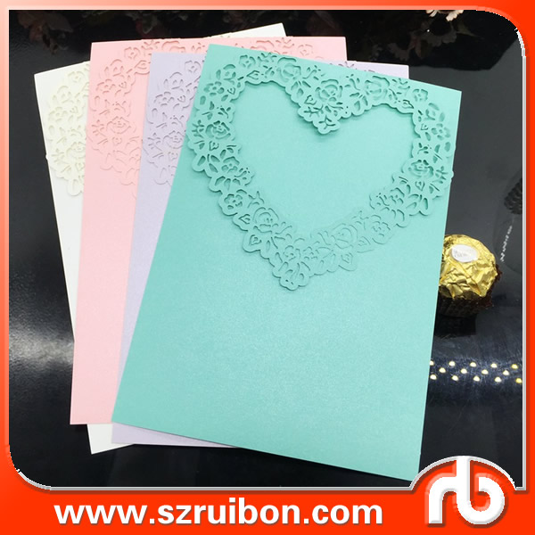Custom wedding invitation card laser cut,heart shaped wedding invitation card-Goods in stock