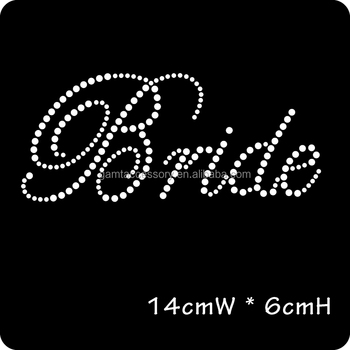 Bling bride motif iron on rhinestone heat transfer for shirt