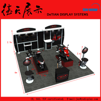 6x6m Cool Black Simple Shanghai Aluminum Motorcycle Display Booth