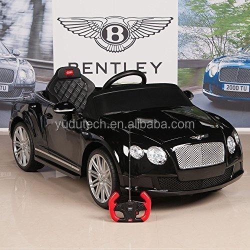 Bentley GTC 12V Kids Ride On Battery Powered Wheels Car with RC Remote and Floor Mat, Black