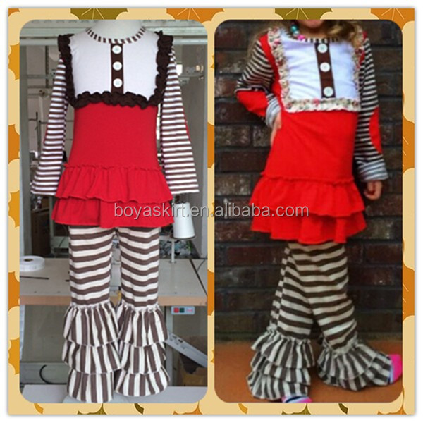 Spring Hot Popular Baby Girls Red Clothing Set Red Birthday Summer Top Set Boutique Stripes Ruffles Causual Outfit