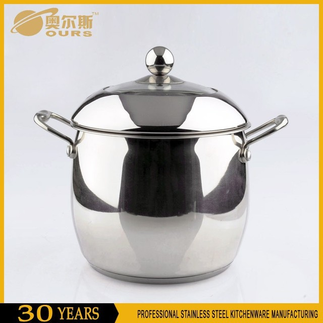 Drum shape casseroles in stanless steel with two handle and lid