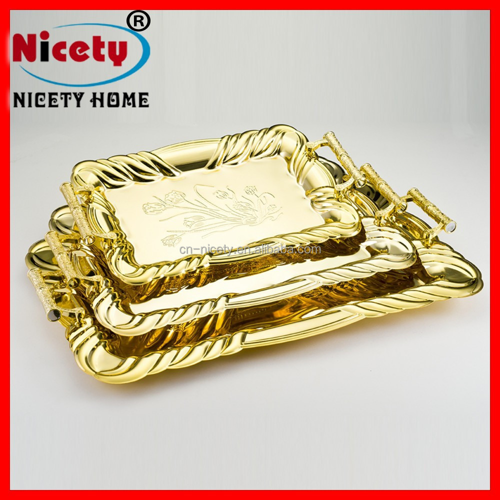 Gold 3pcs non-slip stainless steel serving tray decorative