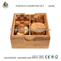wooden puzzle box 4 games in a wooden box