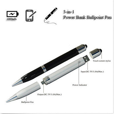 NEW 3 in 1 Portable Power Bank Pen and Stylus USB Battery Charger For phones