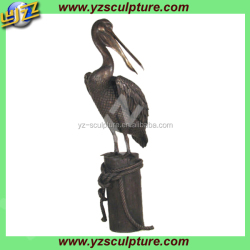 outdoor decoration life size bronze standing pelican sculpture