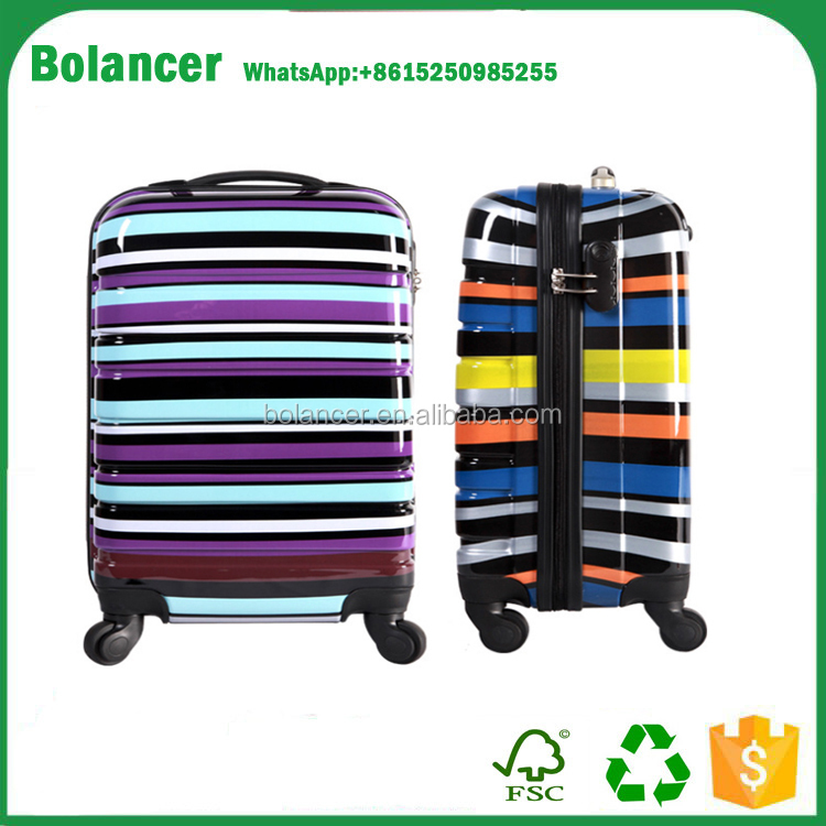 Fashion Hard Shell ABS/PC Rainbow Stripe Wheeled luggage bags