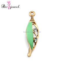 Underwear Accessories Zinc Alloy Green Enamel Bra Hardware High Quality Crystal Lingerie Charms Bra Gold Pendant