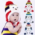 Colorful Stripe Pattern Cartoon Bear Design Thicken Crochet wool hat with Earflap 18569
