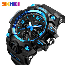 Best selling Skmei Brand fashion 5atm water resistant outdoor sports analog digital watches for men #1155B