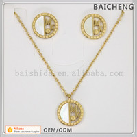 Dubai gold bride jewellery Elegant necklace and earrings Semicircle white shell jewelry set