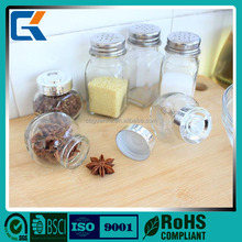 AS006 For low price mini transparent glass spices canister set for kitchen using