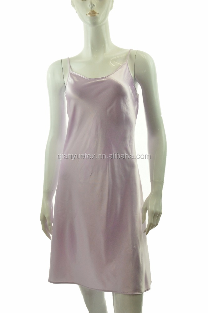 Lavender Women Sexy Satin Silk Chemises Nightgown