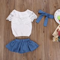 Brand New Toddler Newborn Clothes Kids Baby Girls Summer clothing set Lace T-shirt Tops Denim Skirt PP Shorts Headband Outfits