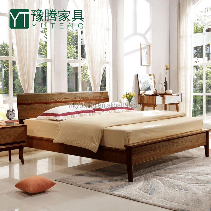 American style white ash wood simple fashion double bed compared with pine wood double decker bed