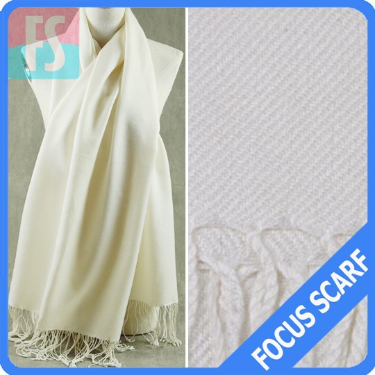 viscose white plain pashmina shawl