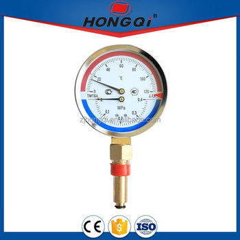 80mm 100mm thermometer pressure gauge for sale brass stem or stainless steel stem with or w/o thermowell