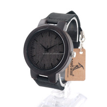 Eco-friendly Fashion Wood Quartz Wrist Watch Men Watches with Leather Band