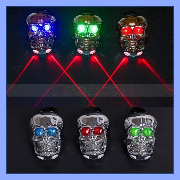 Skull Head Bike Night Laser Rear Tail Light Red 2 LED 7 Modes Bicycle Lamp