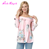 Private label pink floral off shoulder new style ladies western latest tops designs girls