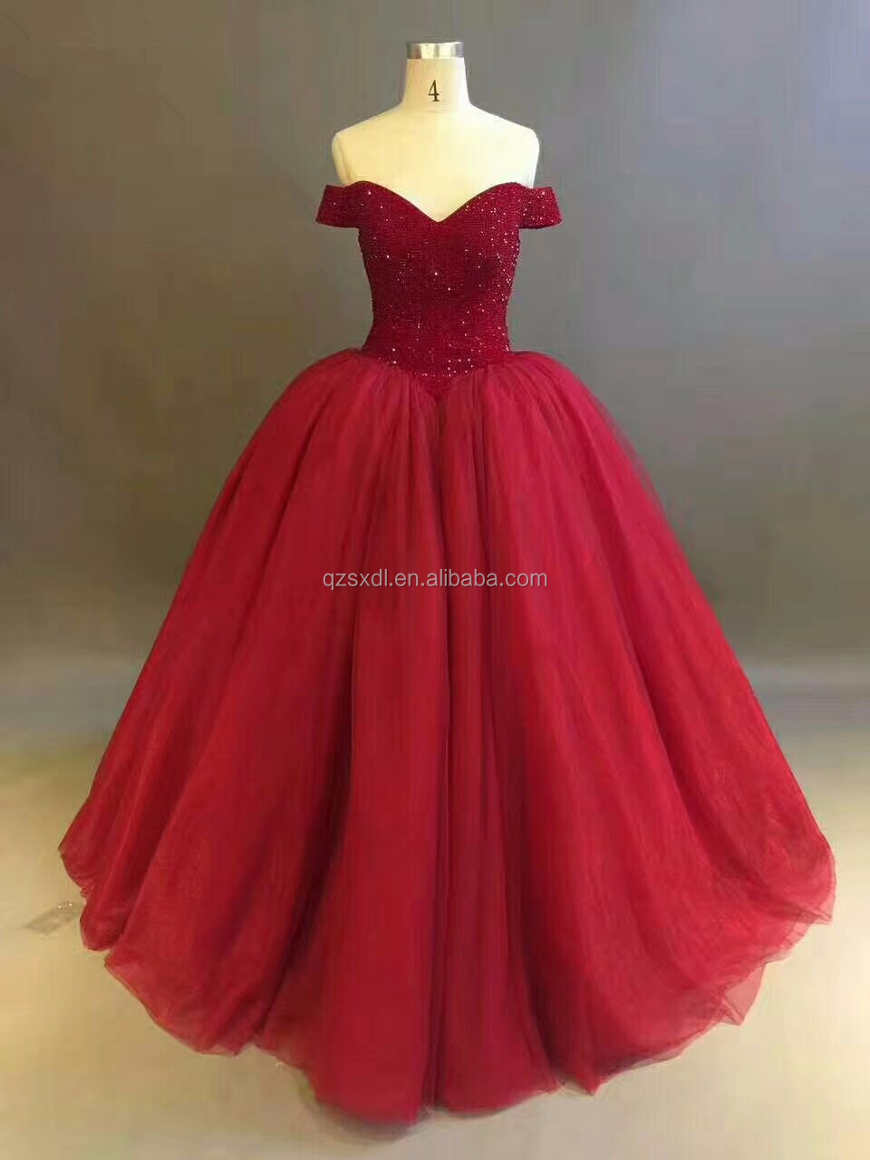 China Oem Ball Gown Crystal Top Off Shoulder Beautiful Red Wedding ...