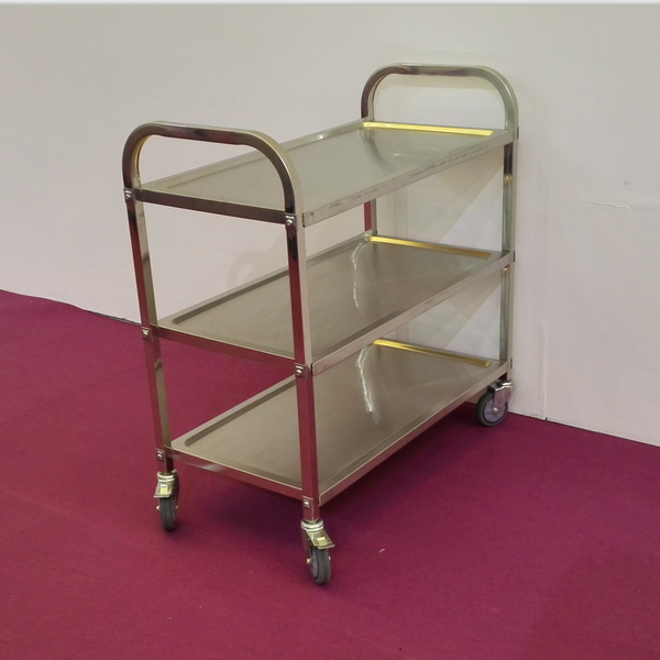 Mobile Commercial Kitchen Equipment 3-Tiers Stainless Steel Service Trolley